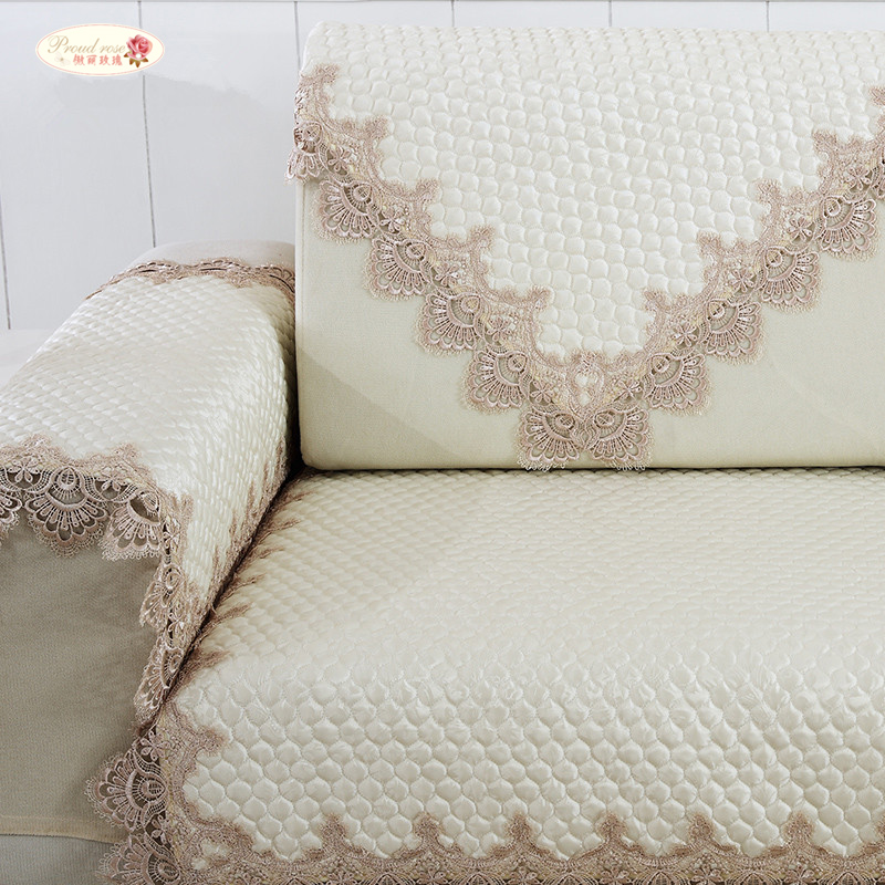 Proud Rose Lace Sofa Cushion Beige Sofa Towel Four Seasons General Sofa Cover Contracted Antiskid Sofa Bed Cover