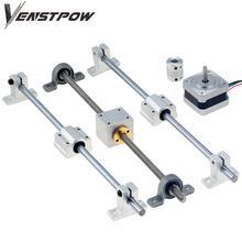 3D drukarki szyny prowadzącej zestawy T8 śruba pociągowa długość 500mm + wał liniowy 8*500mm KP08 SK8 SC8UU osłona na nakrętki sprzęgła silnik krokowy