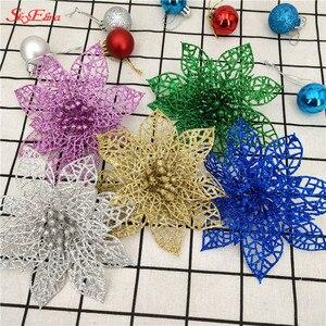 Image 4 - 10 pçs 15cm flores artificiais brilhantes decorações da árvore de natal decoração para casa fontes festa de casamento festivo 6zhh186