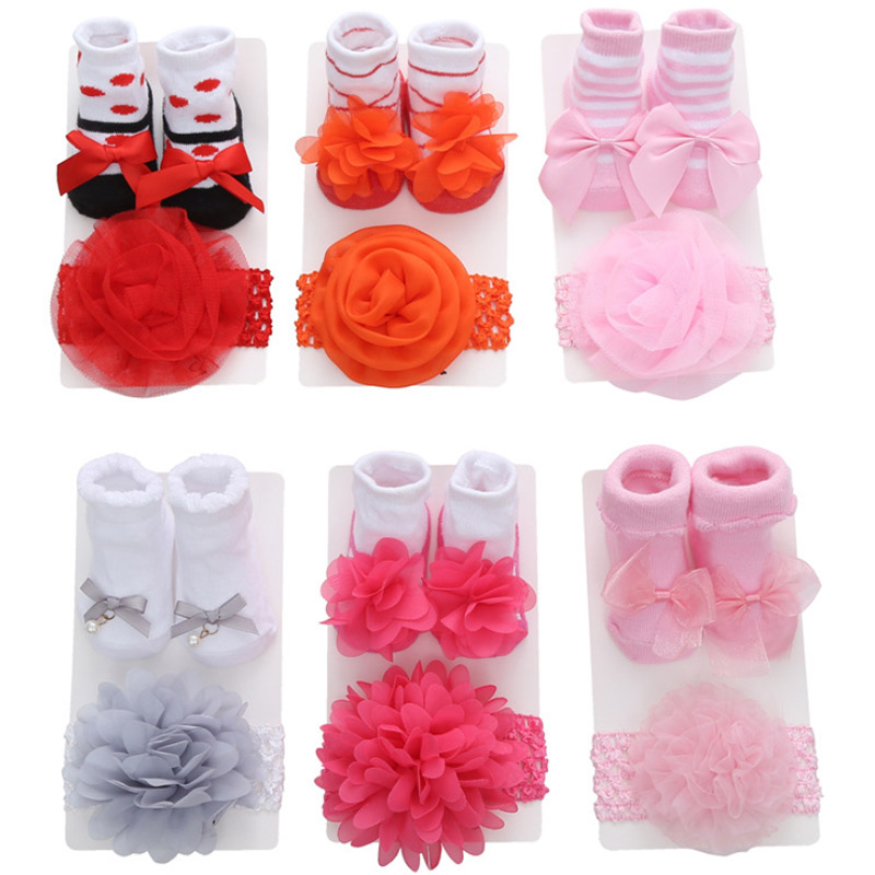 Newborn Lace Socks Cotton Gift Set Baby Socks Frilly Bow Princess Party Wear Socks + Head Band Sweet Birthday Gift For New Born