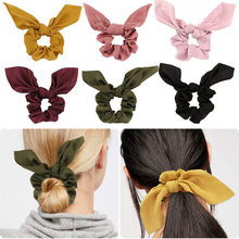 Mode femmes cheveux accessoires cheveux Scrunchie nœuds élastique pour queue de cheval bandeau couleur bonbon noeud noeud Scrunchy filles cheveux cravates(China)