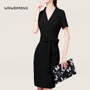 Image 3 - 행사 드레스 2020 여성 사무복 여름 드레스 정장 여성용 v 넥 우아한 가운 작업 드레스 Vestidos