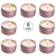 NICROLANDEE 6PCS/SET Rose Gold Tea Lights Scented Candles Soy Wax Aromatherapy Small Candle Tins for Gift Party Home Decorations 2 1inch round magic cube candle soy wax aromatherapy candles scented candle relaxing birthday gift