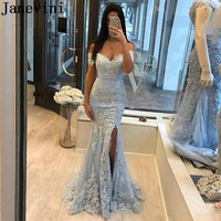 JaneVini Elegant Silver Mermaid Party Gown Sexy Split Tulle Lace White Appliques Long Prom Dresses Evening 2020 Vestidos Fiesta