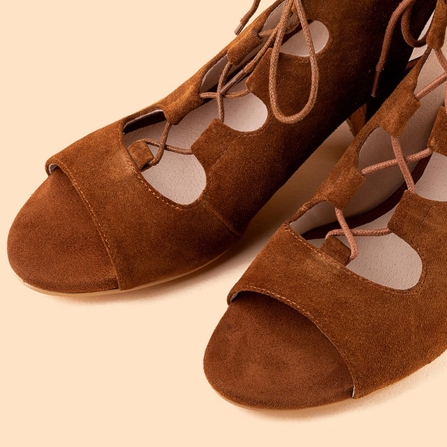 Donna in Suede Sandals For Women Lace Up Block High Heels Rome New Summer Shoes