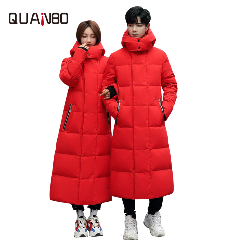 2019 New Men Wommen Lovers Winter Down Jacket High Quality Long Thick Warm Coat Fashion Trens Red Yellow Black Youth Parkas 4XL