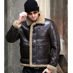 Image 1 - Thicken Real Sheepskin Coat Men Winter Warm Brown Fur Clothing 2019 New Genuine Leather Natural Sheepskin Leather Outwear