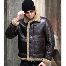 Thicken จริง Sheepskin Coat ผู้ชายฤดูหนาวขนสัตว์สีน้ำตาลเสื้อผ้า 2019 ใหม่ของแท้หนังธรรมชาติ Sheepskin หนัง Outwear
