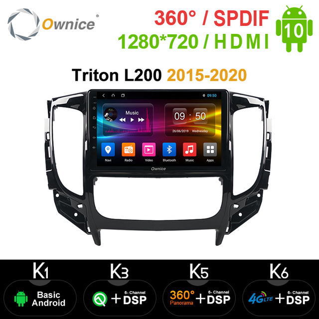 Автомагнитола Ownice k3 k5 k6, Android 10,0, Dvd плеер для Mitsubishi Triton L200, 2015, 2016, 2017, 2018, 2020, Автомобильная магнитола с GPS, Navi, 8 ядер