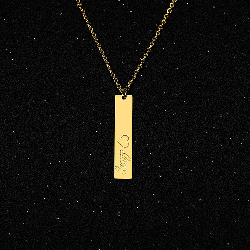 Custom Vertical Bar Necklace Silver Gold Chain Stainless Steel Customized Engraved Name Necklace Personalized Gift For Her BFF
