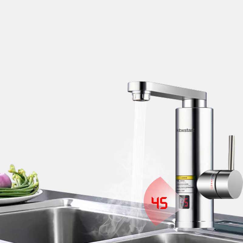 Kbxbegin المطبخ لحظة الكهربائية سخان مياه ساخن الحنفية الحمام حنفية بمصباح LED الفاخرة 3 ثانية سريع وحدة مضخة التسخين