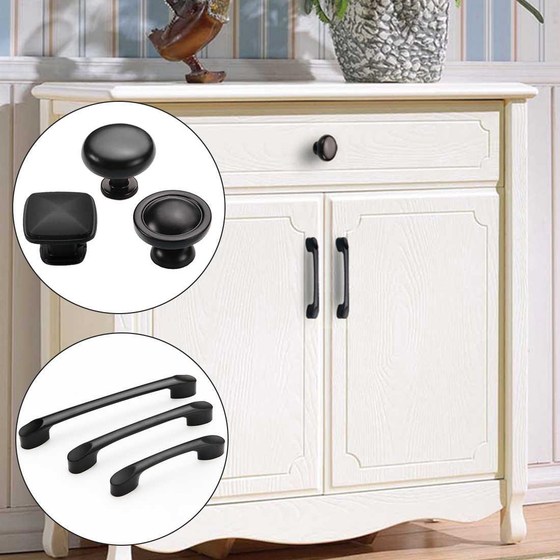 Dolap kapağı kolu alüminyum alaşımlı mat siyah saplı fırça siyah dolap kolları çekmece kolları mobilya kolu donanım