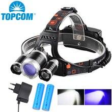 TOPCOM мощный налобный светильник Fishling, масштабируемый светильник-вспышка, перезаряжаемый фонарь для кемпинга, охоты, УФ-черный светильник и белый светильник