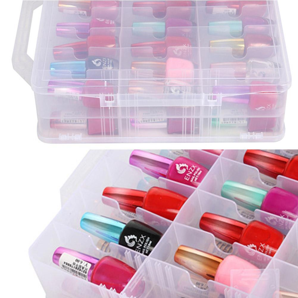 Nail Polish Storage Box Sewing Box 48 Grating Red Rack, Storage Portable Storage Carrying Double-sided Cosmetic Case Box Bo D4W7
