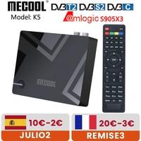 Mecool-TV Box K5 Amlogic S905X3, decodificador de señal con Android 9,0 inteligente, DVB-S2 DVB-T2, 2GB de RAM, 16GB de ROM, wi-fi 2,4 GHz, Bluetooth, 4K, HD