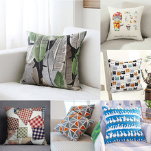 Literary art oil painting digital printing velvet cushion cover hug pillowcase sofa slipcover
