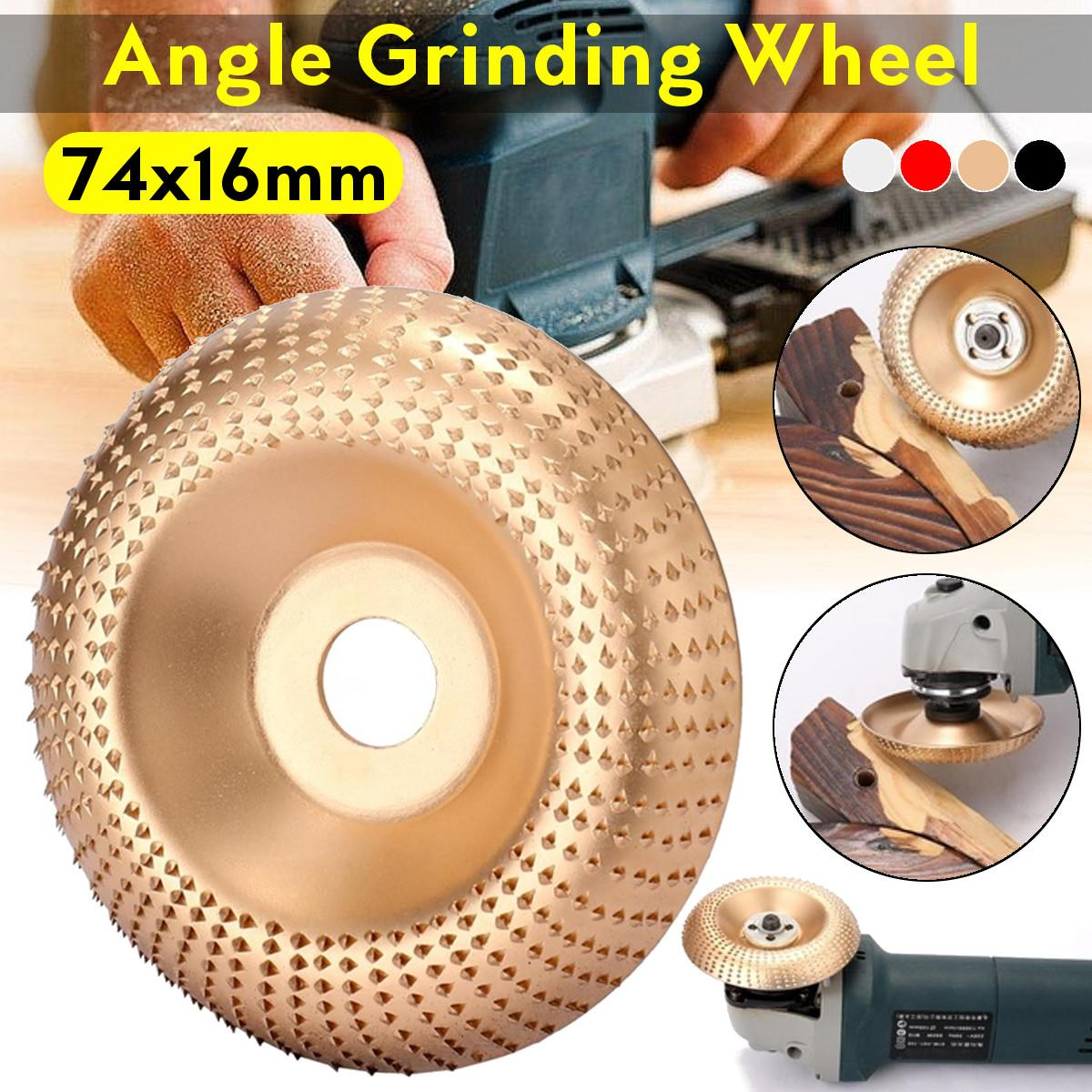 74x16mm Wood Angle Grinding Wheel Sanding Carving Rotary Tool Abrasive Disc Angle Grinder Tungsten Carbide Coating Bore Shaping