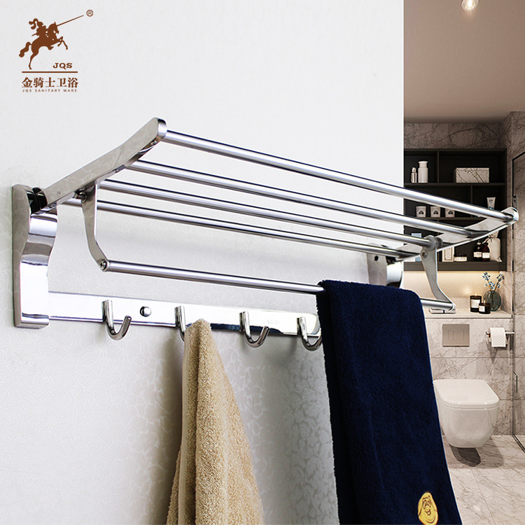 Foshan Bathroom Stainless Steel Supporter Foldable Towel Rack 304 Bathroom Sanitary Ware Hardware Accessories