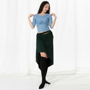 Image 3 - Big Size Women Oriental Dance Costume Modal 3 Piece Set Long Sleeve Dance Wear Blouse Side Slit Skirt With Under Pant White XL