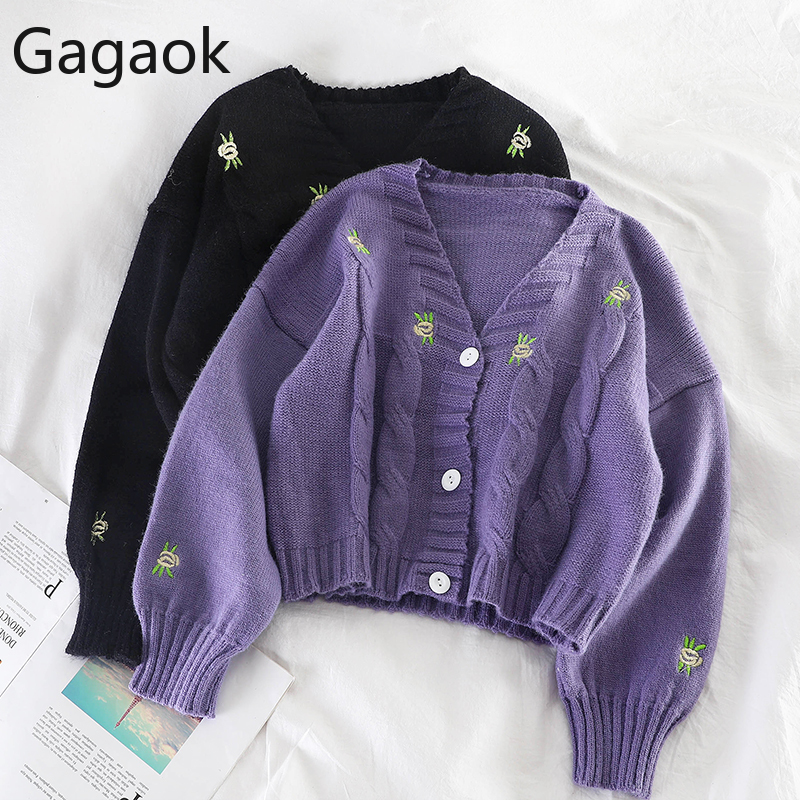 Gagaok Women Knitted Fashion Loose Sweater Spring Autumn V-Neck Lantern Sleeve Embroidery Floral Harajuku Female Cardigan