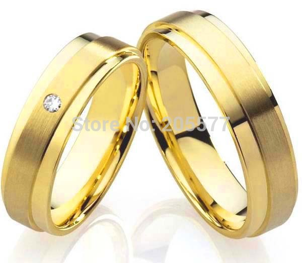 Top qualité classique ses et ses anneaux cadeau de mariage plaqué or pur titane fiançailles couples anneaux pour hommes et femmes