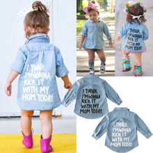 Pudcoco US Stock Toddler Kid Baby Girl Autumn Clothes Denim Long Sleeve Shirt Blouse Coat Shirt Jacket Letter Print 2-7Year