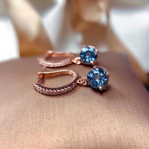 Простые круглые серьги-подвески с натуральным Лондоном и голубым топазом, серьги с натуральными драгоценными камнями, серебро 925 пробы, жен...