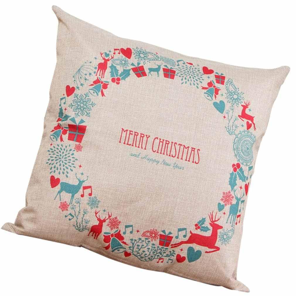 عيد الميلاد السنة الجديدة سلسلة هدية الكريسماس طباعة كيس وسادة كتاني غطاء وسادة المنزل ديكور الانحناء عيد الميلاد بيل بيل