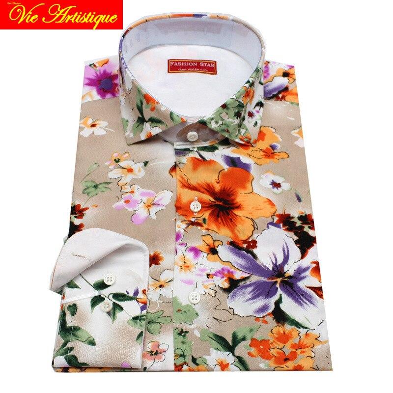 Sur mesure Pour Hommes sur mesure chemises florale coton formel d'affaires de mariage articles blouse peinture à l'huile fleur beige mode david