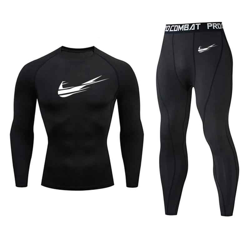 Brand clothing men's compression sets men t-shirt + leggings rashgard kit top for fitness man tracksuit thermal underwear base