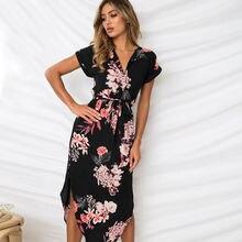 Летнее платье в стиле бохо с коротким рукавом для вечеринки