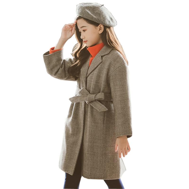 2019 New Autumn Winter Kids Girls Woolen Thick Warm Coat single Breasted Woolen Coat Brand Teen Girls Warm Wool Coat LZ459