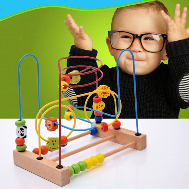 Wooden Bead Maze Toys Educational Abacus Beads Circle Toys Gift for Children Kid