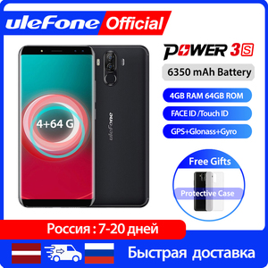 """Ulefone Power 3S 6.0"""" 18:9 FHD+ Android 8.1 Mobile Phone MTK6763 Octa Core 4GB+64GB 16MP 4 Camera 6350mAh Face ID 4G Smartphone(China)"""