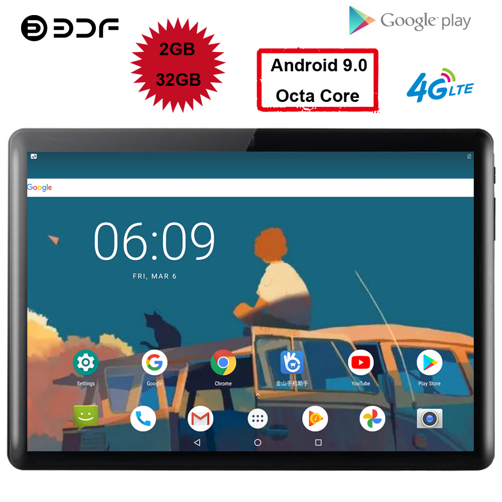 BDF Super View 10.1 Inch Tablet Pc Android 9.0 Octa Core 2GB/32GB WiFi Bluetooth 4G LTE Phone Tab Dual SIM Cards Android Tablet