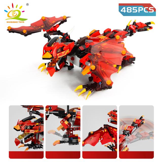 HUIQIBAO 2.4G APP Remote Control Ninja Evil Dragon Building Blocks Technic Creator RC Dinosaur Motor Power Bricks Children Toys