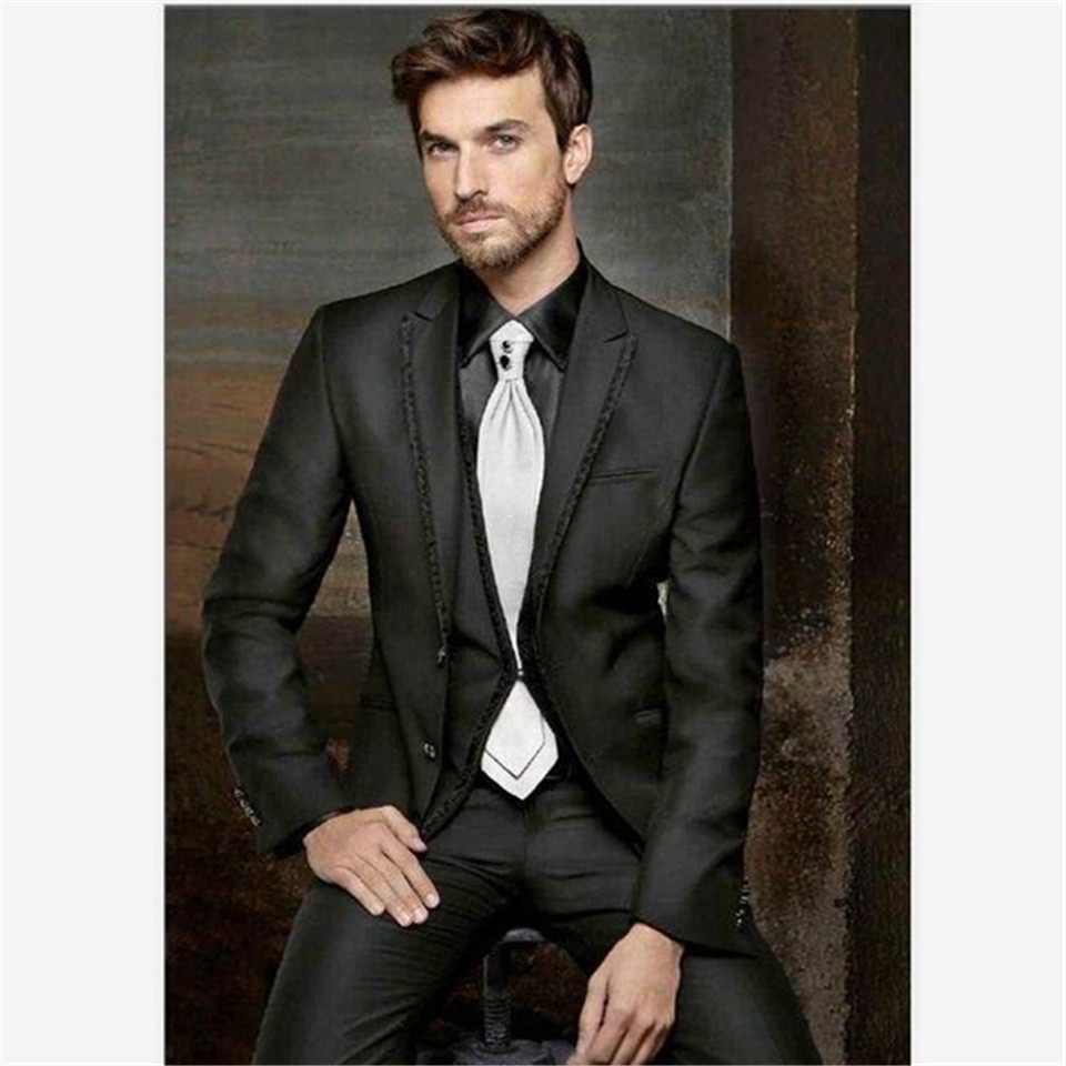 New Classic Men's Suit Smolking Noivo Terno Slim Fit Easculino Evening Suits For Men Groom Tuxedos Black Best Man Bridegroom Wed