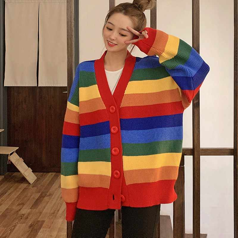 Wanita Longgar Rainbow Bergaris Cardigan V Neck Single Breasted Rajutan Korea Harajuku Jumper Overszied Lengan Panjang Sweater