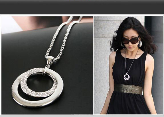 HOT Long Chain Women Necklace Fashion Crystal Rhinestone Silver Plated Pendant Necklace Gift Jewelry Accessories Torque Choker(China)