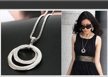 HOT Long Chain Women Necklace Fashion Crystal Rhinestone Silver Plated Pendant Necklace Gift Jewelry Accessories Torque Choker Fashion Jewelry