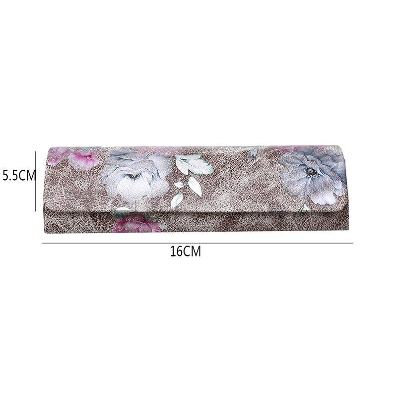1 шт., коробка для очков из искусственной кожи, винтажный складной чехол с цветочным принтом, переносная элегантная коробка для хранения очков для чтения