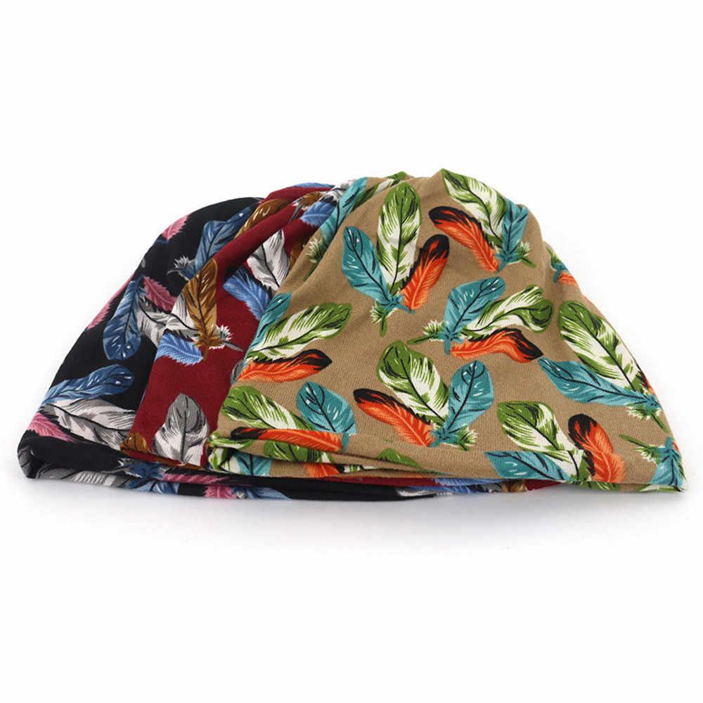 2020 ใหม่ 2020 ใหม่หญิง Feather พิมพ์ผ้าพันคอหมวก Casaul กลางแจ้งรถ Windproof หมวก