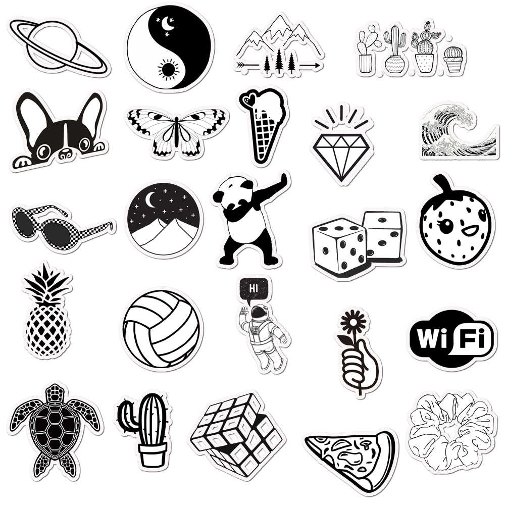 50 Pcs Black And White Vsco Stickers