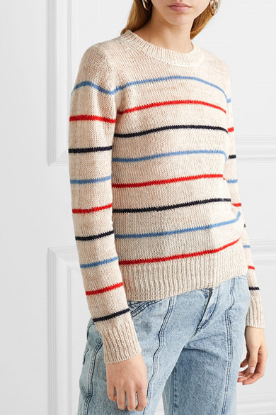 Для женщин с О-образным вырезом, в полоску вязаный свитер леди Трикотаж Женский Jumplers Пуловер детский Топ Стильный