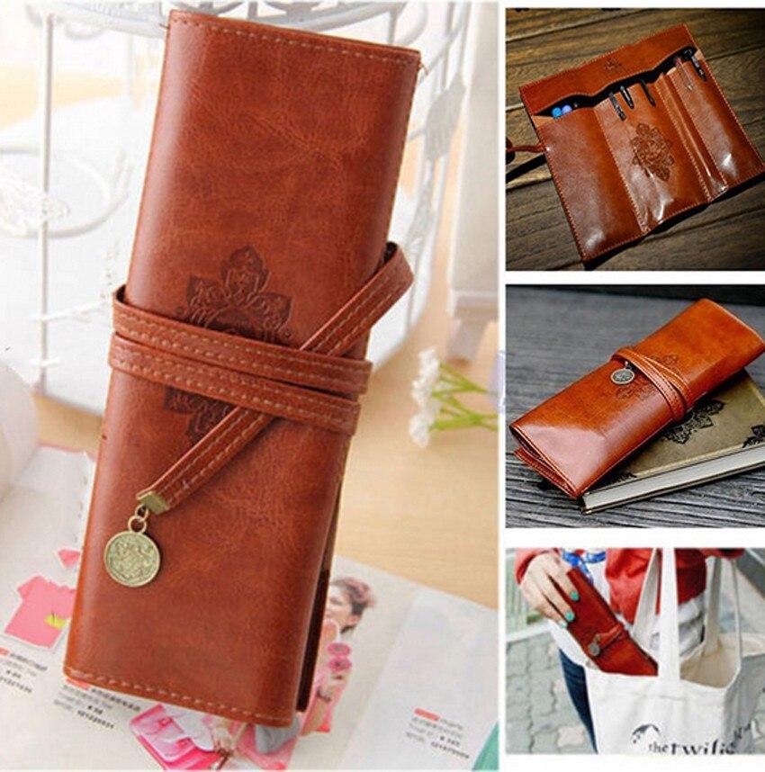 Retro Vintage PU Leather Makeup Cosmetic Tool Case Pen Pencil Organizer Pouch Bag