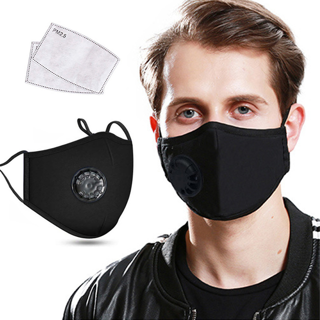Face Mask Mouth Masks Cotton With Activated Carbon Filter Valve PM2.5 Reusable Washable Respirator Windproof For Men Women Kids