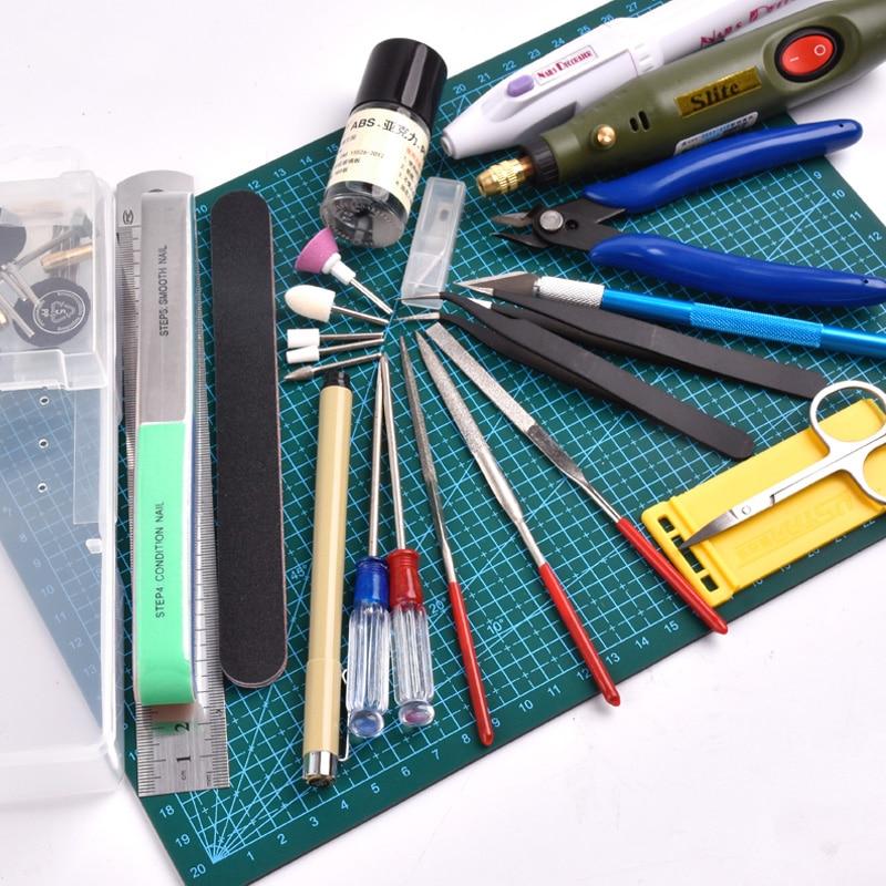 New Model Building Tools For Gundam Tools Hobby Military Model DIY Accessories Grinding Cutting Mat Polishing Tools Set