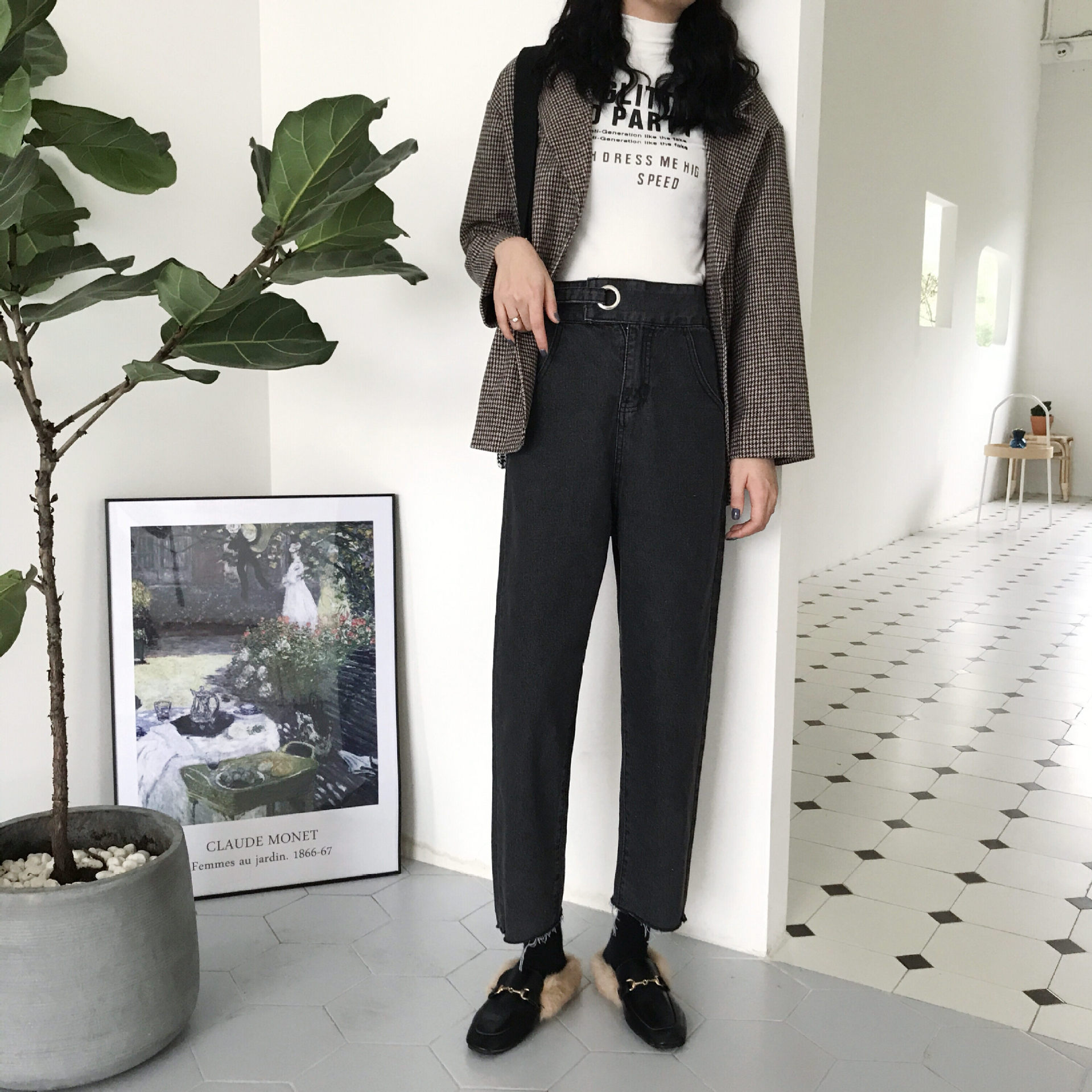 2019 Spring And Autumn Women's Korean-style Loose-Fit Versatile Water Jeans High-waisted Buckle Casual Pants