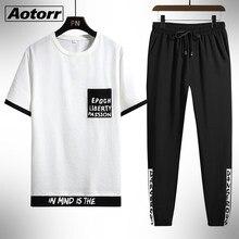 2021 yeni spor elbise yaz erkek moda kısa kollu erkek giysileri gevşek eğlence seti eşofman erkek iki parçalı spor uzun pantolon
