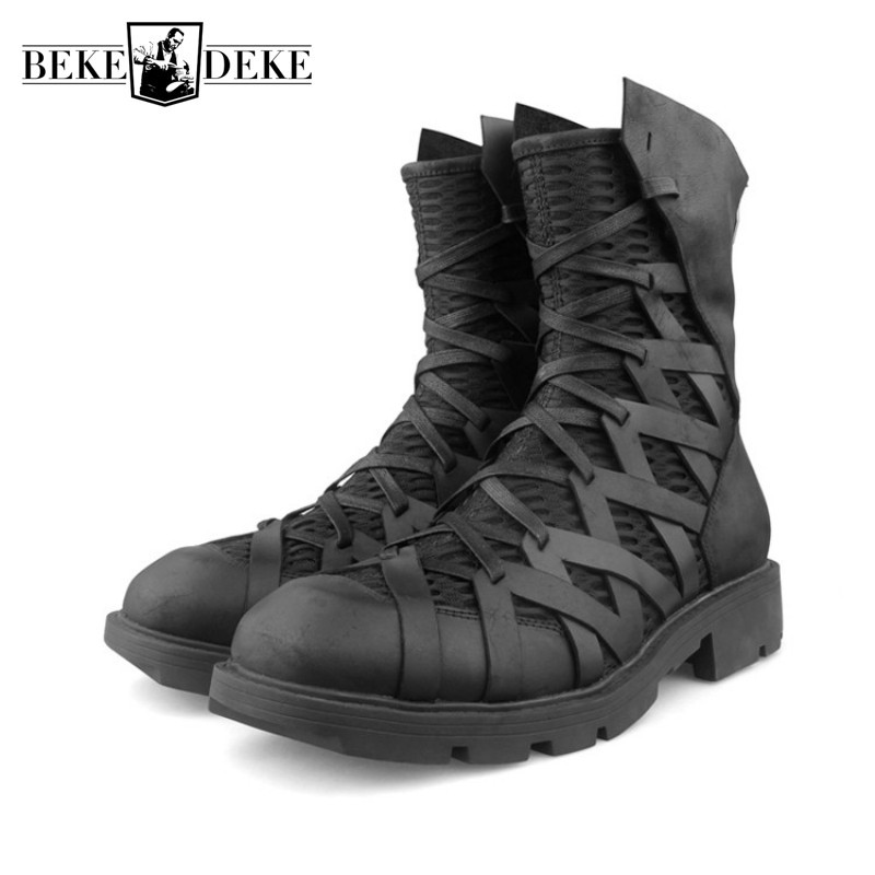 High-Top Punk Shoes Men Ankle Luxury Trainers Genuine Leather Mesh Patchwork Back Zip Motorcycle Boots Casual Hip Hop Sneakers
